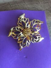 Vintage CHRISTIAN DIOR Gold Tone Crystals Flower Brooch Pin V2