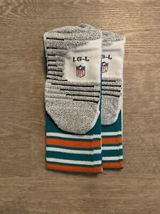 MIAMI DOLPHINS TEAM ISSUED/GAME WORN NIKE THROWBACK OFFICIAL NFL SOCKS LG
