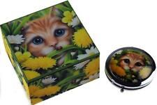 Summer Cat 2 Piece Girls Jewellery Box And Compact Mirror Gift Set