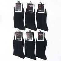 6 12 Pairs Crew Casual Dress Socks Solid Black Plain Ribbed Mens 10-13
