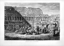 Stampa antica ROMA interno del Colosseo 1877 Old print Rome