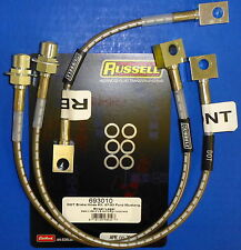 Russell 693010 Stainless Steel Braided Brake Line Hose Kit Mustang 1987-1993