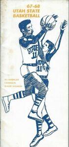 1967-68 UTAH STATE BASKETBALL media guide, Shaler Halimon, Jr., Dale Brown, EX