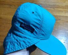 VTG Columbia Long Bill Hat Cap Gore Tex Neck Flap Teal USA Fishing SMALL Hook