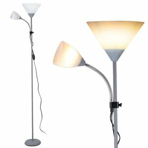 Lampada Piantana da Terra 180cm Design Moderno 2 Bracci Paralume Metallo Grigio