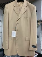 New 44L 3 Button Men's Beige Suit 100% Wool Made in Italy Retail $1295