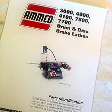 Ammco Parts Manual 3000 4000 4100 7500 7700 Brake Lathes
