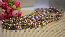 long natural pearl 80'' 6-7mm mixed-color pearl necklace jewelry