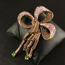 Broche Grosse Noeud Papillon Rose Tassel Fringe Vert Baroque Vintage XZ 4