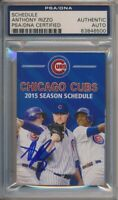 Anthony Rizzo Signed 2015 Chicago Cubs Pocket Schedule PSA/DNA Auto MLB COA #500