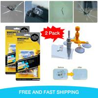 2 X Windshield Repair Kit Quick Fix DIY Car glass Bullseye Rock Chip Crack Star