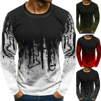 Men's Slim Fit Crew Neck Print Long Sleeve Muscle Tee T-shirt Casual Tops Blouse