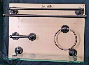Chenille Bath Hardware Bronze Towel Bar Ring Toilet Paper Tempered Glass Shelf
