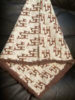 Safari Jungle Animals Baby blanket -Brown Giraffe Family -handmade braided edge