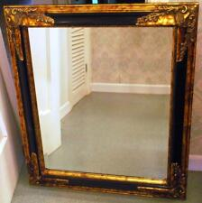 """Vintage 29.5"""" Beveled Wall Mirror Ornate Gold Gilt & Black Gesso Neoclassical"""