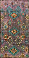 Antique Vegetable Dye Moroccan Geometric Oriental Area Rug Wool Hand-knotted 5x9