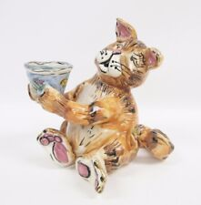 Blue Sky Clayworks Heather Goldminc Ginger Cat Fish Bowl Tealight Candle Holder