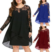 Womens Casual Plus Size Sheer Lace Sleeve High Low Hem O-Neck Long Swing Dress P