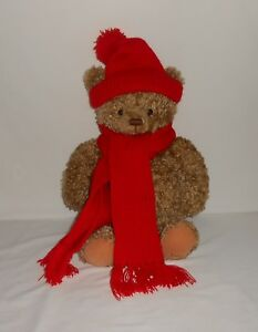 """Hallmark 15"""" Plush Bear Mary with Red Hat and Scarf"""