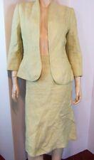 KASPER Straw Yellow Linen Woven Tailored Jacket Fluted Trumpet Skirt Suit 8