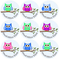 144 Owl Miss You - End of Term Year School Teacher Reward Stickers Size 30 mm