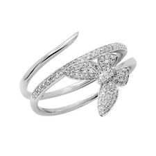 14K WHITE GOLD PAVE DIAMOND BUTTERFLY COCKTAIL FASHION WRAP RING