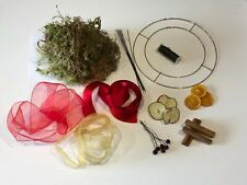 Wreath Making Kit - 25cm Flat Ring, Moss, Ribbons, Dried Fruits, Wire, Etc