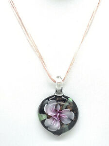 Murano Style Necklace Lamp-work Flower Art Glass Pendant Cord  Copper Pink A5