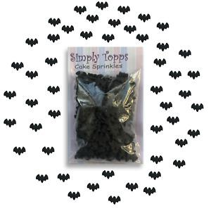 Halloween Cupcake Sprinkles Black Bats Edible Cake Decorations 25g