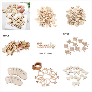 72 Style/Shaped Unfinished DIY Craft Use Wooden Pieces Festival Home Decoration