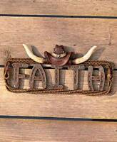 Rustic Western Star Faith Wall Hanging Cowboy Hat Steer Horns Wall Plaque