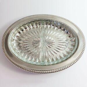 Vintage Estelle Silverplate Serving Food Snack Dish Divided Glass Section Floral