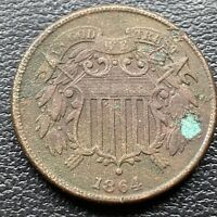 1864 Two Cent Piece 2c High Grade XF - AU Details #30449