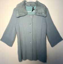 Vintage CHRISTINE PHILLIPE Angora Sweater Fuzzy Faux Collar Button Front S Lined