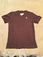 Mens Abercrombie and Fitch T Shirt Brown, V Neck Size Large Great Condition