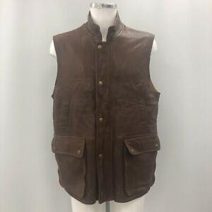 Orvis Waistcoat Gilet Jacket Mens L Brown Leather Funnel Neck Pockets 253208