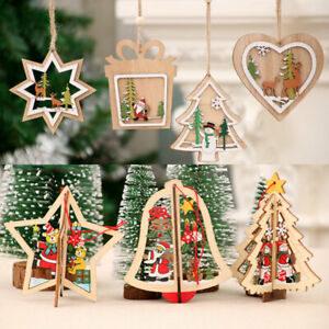 1PC Xmas Tree Hangings Wooden Pendants Star Bells Home Christmas Decorations