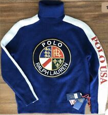 POLO RALPH LAUREN Mens Crest Cookie Downhill Ski Wool Turtleneck Sweater Blue L.