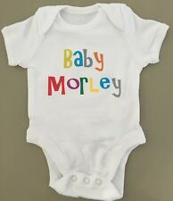 PERSONALISED unisex  baby clothing vest babygrow great baby shower gift ANY NAME