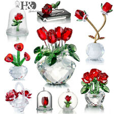 Crystal Rose Figurine Flower Collectibles Glass Ornament Wedding Decor Lady Gift