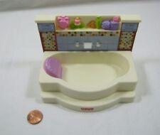 Rare FISHER PRICE Loving Family Dollhouse BATHROOM BATHTUB Bath Tub Mosaic Tile