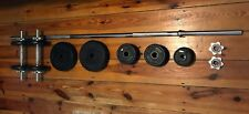 York Cast Iron Weights Set, Dumbbell Bars & Barbell With Spinlocks 50kg Home Gym
