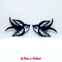Pair Of Colourful Swallows Rockabilly Iron Sew On Embroidered Patch #961-Black