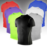 Mens Workout T Shirt Compression Short Sleeve Slim Fit Base Layer Sport Tee Tops