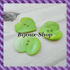 8 mother of pearl buttons shape heart 0 7/8in