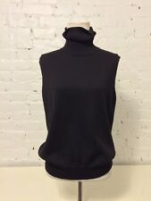 Max Mara Wool Sleeveless Turtle Neck Pullover Sweater Slouchy in Black size XL