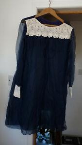 Ladies 1960`s Handmade Navy Chiffon Type Dress Size UK 16/18