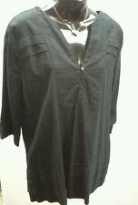 BARKINS Size 14 Black Pleat Tier 3/4 Sleeve Tunic Linen Cotton NWT RRP $109