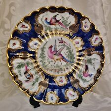 EDME SAMSON Blue Scale Ground Exotic Birds Insects Plate Worcester Chelsea Style