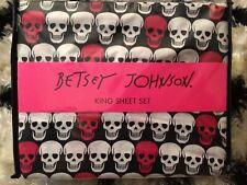 Betsey Johnson King Sheet Set Skull Pink, Black and White NIP